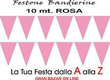 BANDIERINE TRIANGOLI ROSA FESTONE FESTA PARTY 10 mt. DECORAZIONE in PVC