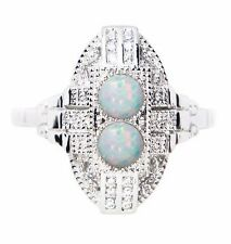 ART DECO INSPIRED WHITE GILSON OPAL RING STERLING SILVER 925 HALLMARKED SIZE 9