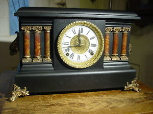 "ANTIQUE INGRAHAM  1900 ""REGAL"" BLACK ENAMEL MANTEL CLOCK WORKING RESTORED"