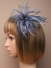 NEW Silver grey pearl bead looped net and feather fascinator brooch clip wedding