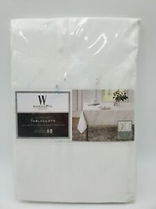 """Wamsutta 60""""x84"""" Oval Or Oblong Microfiber Tablecloth White NEW"""
