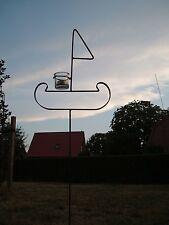 Teelichthalter Windlicht Schiff aus Metall Wikinger Gartenlicht mit Glas - NEU !