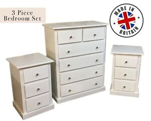 HANDMADE TULIP DEWSBURY 3 PIECE SET CHEST OF DRAWERS & X2 BEDSIDES IN IVORY NEW