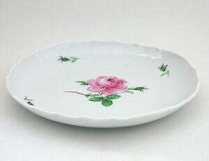 Meissen Kuchenschale Rose ohne Goldrand, 1. Wahl