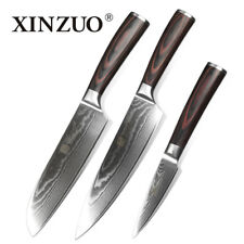 Knife Set 67 Layers Damascus Steel Blade Chef Utility Santoku Pair Peel 3 Knives