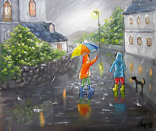 100%HAND-PAINTED ART ACRYLIC OIL PAINTING RAINY  CITYSCAPE KIDS 16x20 INCH