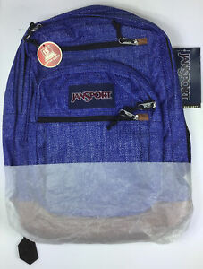 JANSPORT Cool Student Blue Heathered Twill Backpack w/ Laptop Sleeve, Brand New