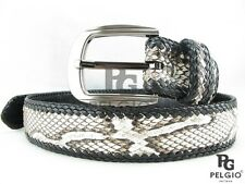 "PELGIO Real Genuine Python Snake Skin Leather Handmade Belt 46"" Long Natural New"