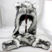 Wolf Animal Hood Hoodie Hat Faux Fur with Scarfs&Mitten 3in1 Function Long Flap
