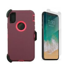 For iPhone XS Max Defender Case Cover W/Screen (Clip Fits Otterbox) Plum Pink