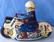 Police Patrol Motorcycle USAGIYA Japan Tin litho Toy, Friction mech is faulty