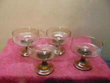 4 Vintage Green Gray Dessert Stemmed Sherbet Bowls Glass Dish