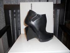 Nicholas Kirkwood Black Leather Cutout Wedge Ankle Bootie Boots Shoes 37 EU $965