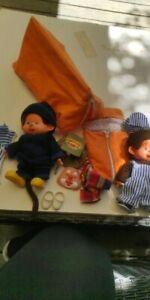 Vintage lot Peluches plush Kiki Sekiguchi Ajena,yeux bleus France + accessoires
