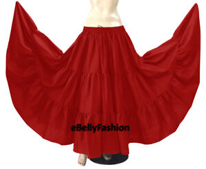 Red - Cotton 10 Yard 3 Tier Belly Dance Skirt Gypsy Tribal Ethenic Flamenco