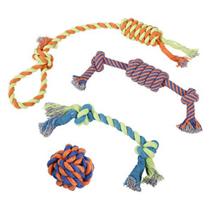 Dog Chew Rope Toys – Set of 4 Ropes - for Large, Small Teething Pets, All Breeds
