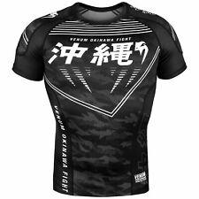 VENUM OKINAWA SHORT SLEEVE RASHGUARD / COMPRESSION SHIRT - BLACK - SMALL