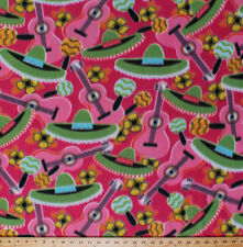 Mexican Fiesta Sombreros Guitars Cinco de Mayo Pink Fleece Fabric Print A344.09