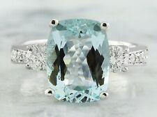 4.75 Carat Genuine Aquamarine 14K Solid White Gold Luxury Diamond Ring