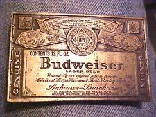 SHARP Advertising Budweiser Beer Label Solid Brass Mens Belt Buckle  #M227