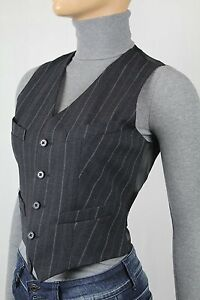 Polo Ralph Lauren Charcoal Pinstriped V-Neck Wool Vest Pockets NWT $198
