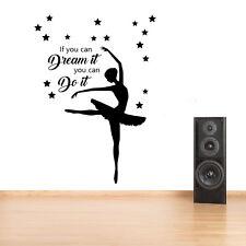 Dance,Ballet Girls Bedroom Quote, Vinyl Wall Art Sticker Decal