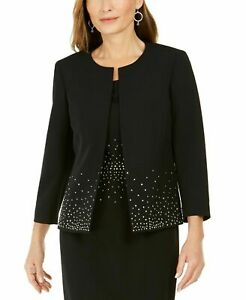 NWT KASPER BLACK EMBELLISHED CAREER JACKET BLAZER SIZE 10 SIZE 16 W WOMEN $139