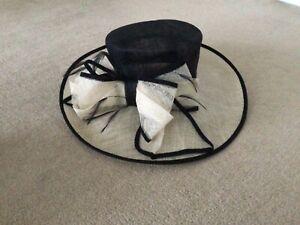 Ladies black & cream wedding hat. Large bow detail. One size