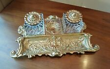 VIRGINIA METALCRAFTERS BRASS WILLIAMSBURG DOUBLE INKWELL- EXCELLENT CONDITION