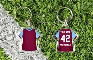 WEST HAM personalised keyring. Add your own name and number. Retro & modern