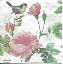 Lot de 4 Serviettes en papier Fleurs Roses Sophie Decoupage Collage Decopatch