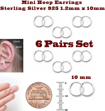 Mini Hoop Earrings Sterling Silver 925 1.2mm x 10mm 6 Pairs Set Super Small