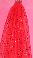 Hens Night Bachelorette Party Veil RED with Red multisized sequins approx 40cm