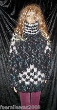 handgestrickt Pullover Kid Mohair Gr 40 - 44  Schwarz  Bunt  unisex hand knitted