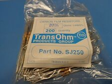 (200) TRANSOHM SJ250 200K Ω Ohm 1/4W 5% CARBON FILM RESISTOR SEALED