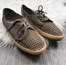 Womens FRANCO SARTO A-WHIMSY Taupe Leather Perforated Espadrille Flat Size 9M