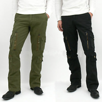 Mens Cargo Trouser Jeans Denim Slim Fit Casual Fashion Multi Pocket Combat