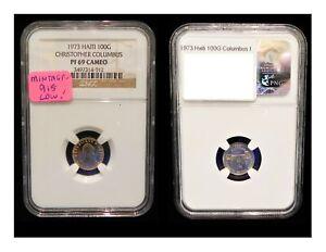 Rare 1973 100 Gourde Gold HAITI CHRISTOPHER COLUMBUS 915 Mintage NGC PF69 Cameo