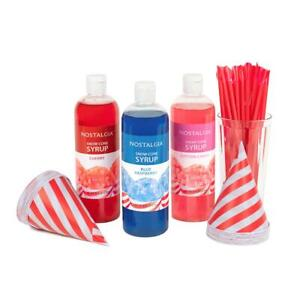 Snow Cone Syrups, Cups & Spoon-Straws Party Kit, 16 oz Syrups, Ready for Summer
