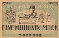 German 1923 5 Million Mark Notgeld Banknote with Artwork Serial # Seal