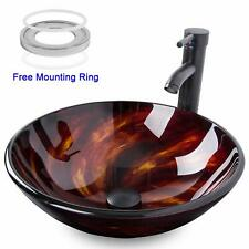 Bathroom Artistic Vessel Sink Combo Tempered Glass Faucet Pop up Drain Combo