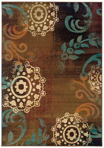 "4'x6' Sphinx Abstract Brown Scrolls Circles 2822A Door Mat - Aprx 3' 10"" x 5' 5"""