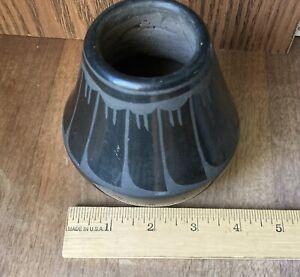 Vintage Black on Black POT Santa Clara Pueblo Pottery Signed