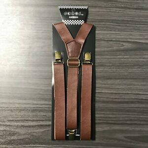 """Dk Brown FauxLeather Mens Clip-on 1.0"""" WIDE Suspenders  Y-Shape Suspender"""