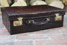 Hermoso Antiguo Inglés genuina maleta no las iniciales de la piel de cocodrilo