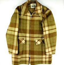 Vintage Woolrich Women MCM Plaid Zip Up Blanket Barn Jacket Coat Size 38