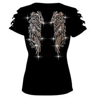 Hot Bling Bling Angel Wings Printed Back Black Shirt Ripped Slit Cut Out S~XL #Z
