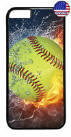 Softball Fire & Ice Sport Rubber Case Cover For iPhone Xs Max XR X 8 7 6 Plus 5