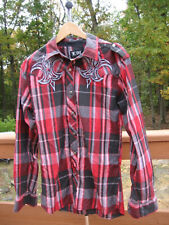 Men's Shirt Button Front Plaid Long Sleeve Embroidered Gothic Cross Size L