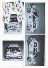 Decals 1/43e Peugeot 106 Rallye Punchia Rallye Valli Ossolane 2002